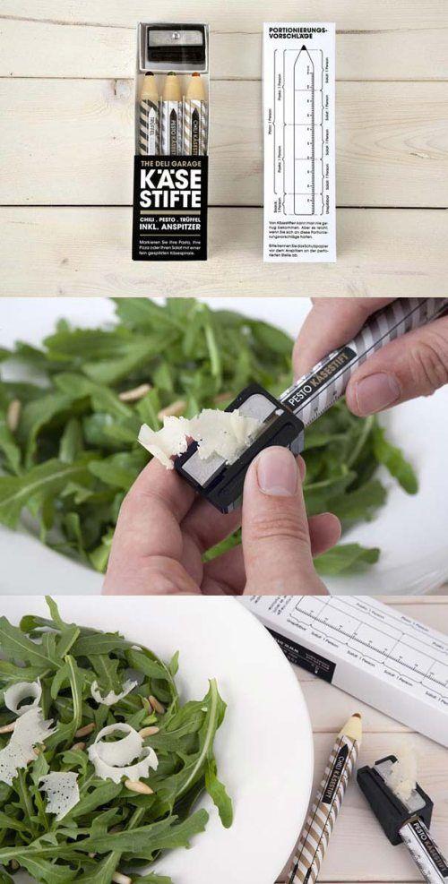 Brilliant! #packaging ‼面白い‼ 鉛筆と思いきゃ、チーズ⁉ 鉛筆削りでチーズ削り。 楽しそう♪