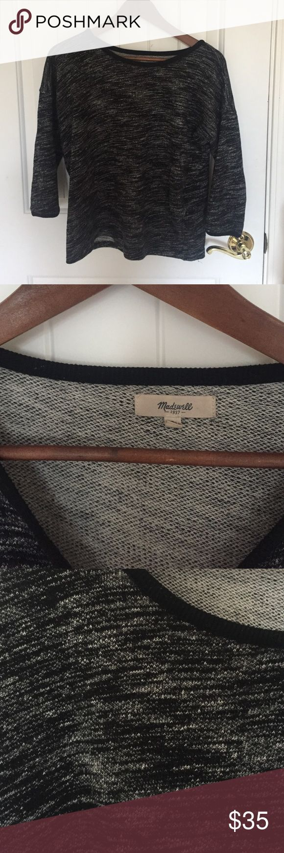 Madewell Marled Sweater Madewell grey and black marled sweater. 3/4 sleeves. Madewell Sweaters
