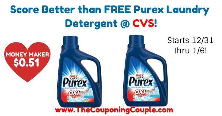 ***MONEY MAKER*** Grab your coupon for the sale NEXT WEEK (12/31)! Score FREE Purex Laundry Detergent @ CVS!  Click the link below to get all of the details ► http://www.thecouponingcouple.com/score-free-purex-laundry-detergent-cvs/ #Coupons #Couponing #CouponCommunity  Visit us at http://www.thecouponingcouple.com for more great posts!