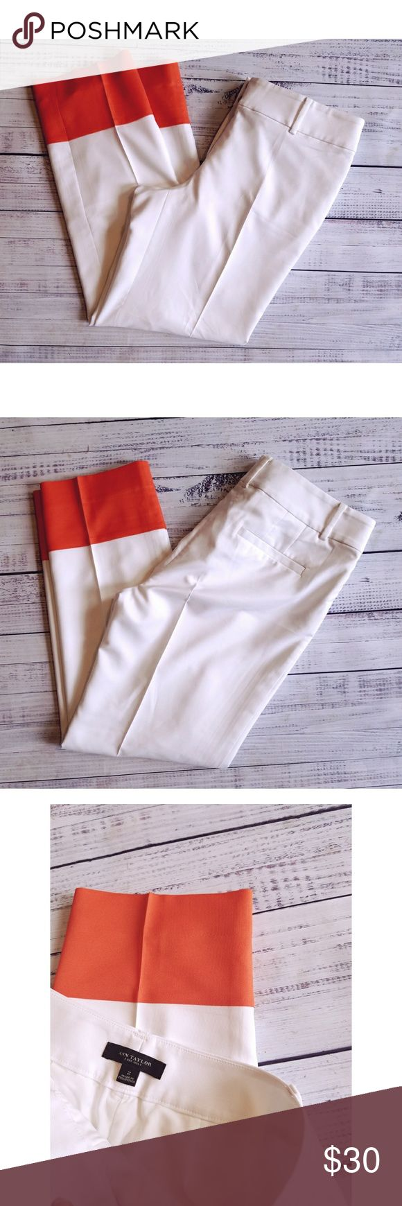 Ann Taylor White and Orange Cropped Pants Lightly worn Light weight  Linned Polyester and spandex 16 inch flat waist  9 inch rise  26.5 inch inseam Ann Taylor Pants Ankle & Cropped