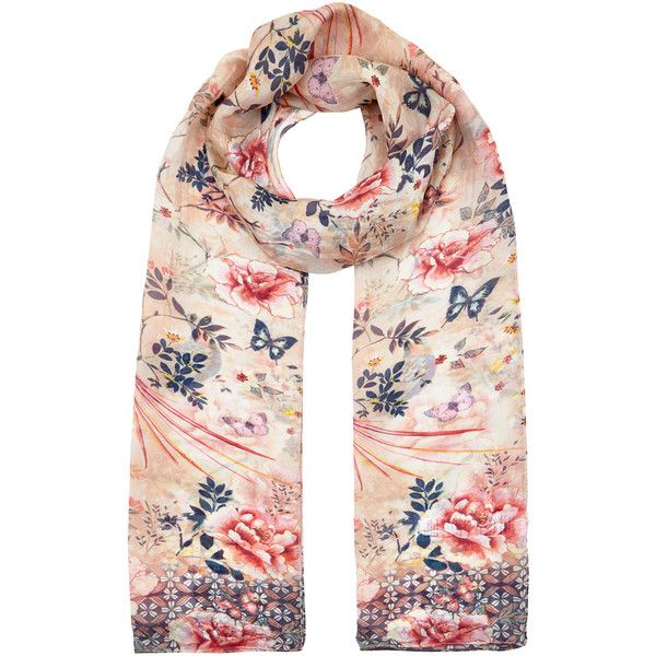 Accessorize Oriental Bird Silk Classic Scarf (30 CAD) ❤ liked on Polyvore featuring accessories, scarves, accessorize scarves, pure silk scarves, silk scarves, print scarves and silk shawl