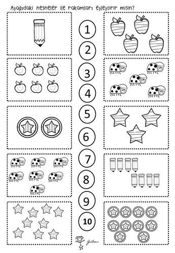 Eşleştirme Rakam Okulöncesi çalışma Sayfası 10 1 Education