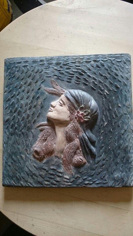 "Basso rilievo ceramica patinato ""Gitana"""