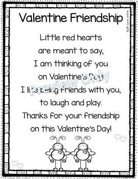 Valentines Day   Friendship   Poem for Kids   printable   poem of the week   poetry notebook   friends   kindergarten   1st grade