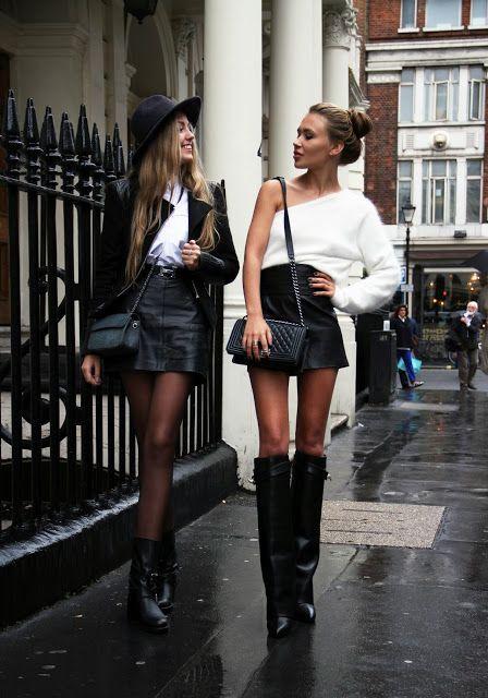 looks de mujeres rebeldes falda de piel