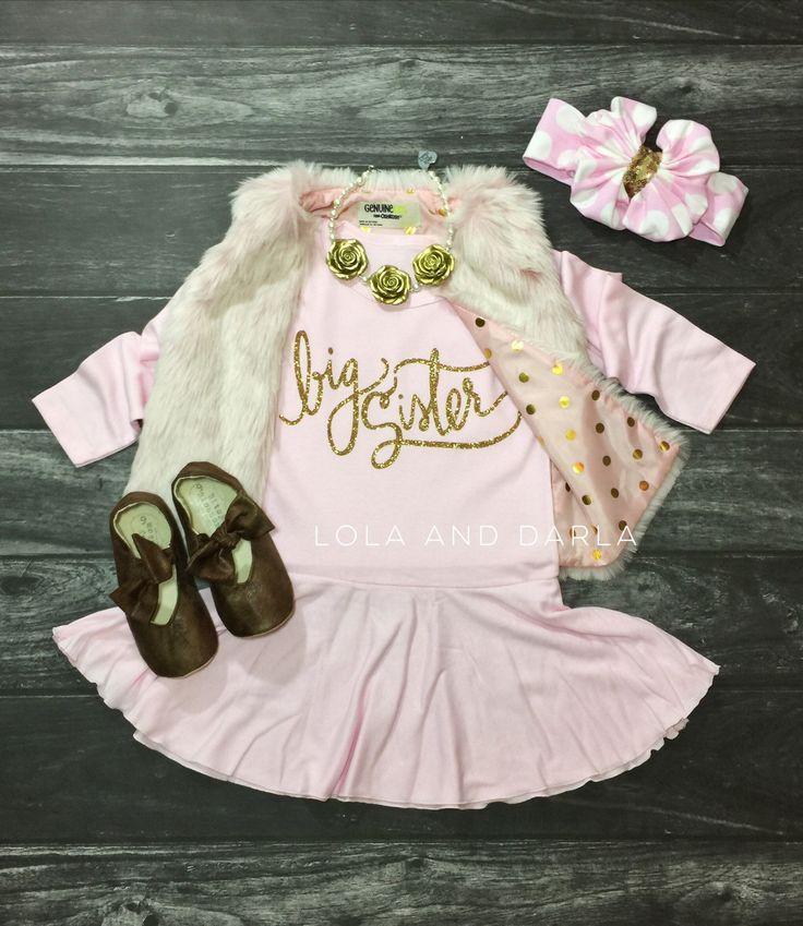 Big Sister long sleeve sparkle dress by LolaandDarla on Etsy https://www.etsy.com/listing/247221768/big-sister-long-sleeve-sparkle-dress