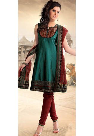 Green Poly Cotton Readymade Churidar Kameez