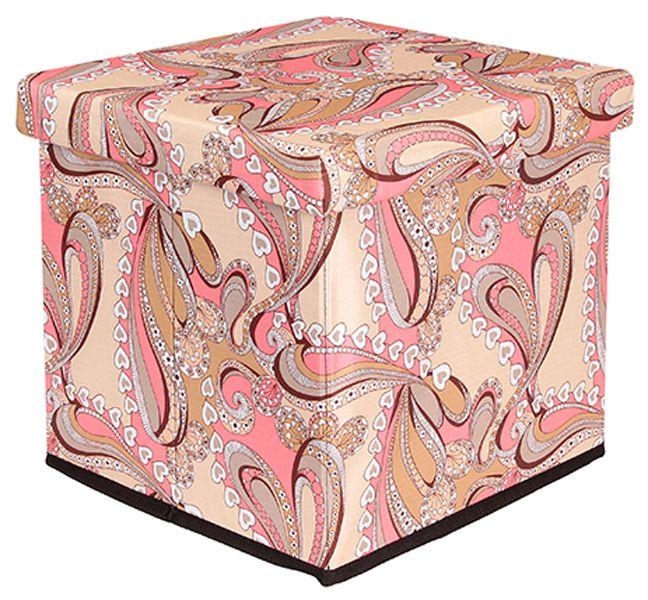Пуф складной с ящиком для хранения «Узоры с сердечками» 33х33х31  МДФ + ткань