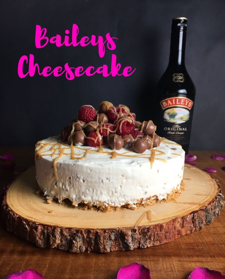 Easy No-bake Baileys Cheesecake riddled with Maltesers, and finished with a good helping of more Maltesers, Raspberries and a drizzle of caramel. The perfect Christmas showstopper, No bake Baileys and Maltesers Cheesecake