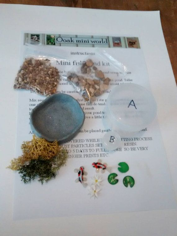 Ooak make your own miniature pond kit includes pond  koi carp fish gravel weeds  shells 12 scale dolls house scenes  fairy gardens , present
