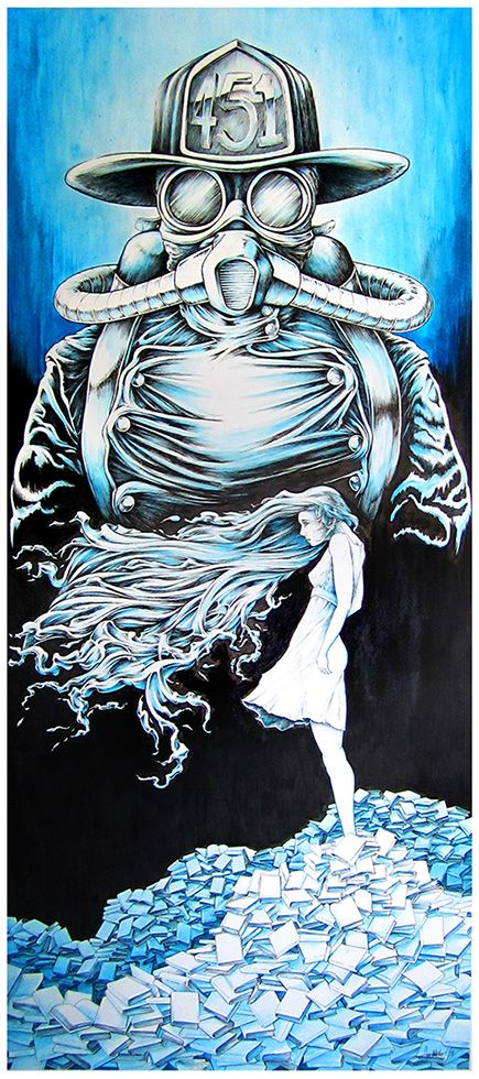 "Fahrenheit 451 —  ""Montag and Clarisse""by Frank Germano   18"" x 40"" (framed, approximately 22"" x 44""). Ink and acrylic."