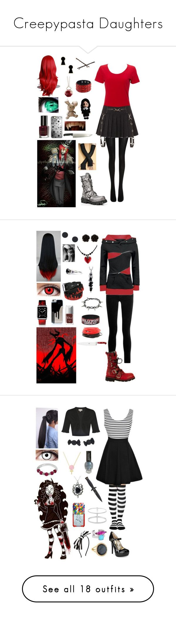 """""""Creepypasta Daughters"""" by ender1027 ❤ liked on Polyvore featuring Simplex Apparel, Wolford, Bobbi Brown Cosmetics, Rianna Phillips, Disney Couture, Goody, Sian Bostwick Jewellery, Casetify, J Brand and Martick"""