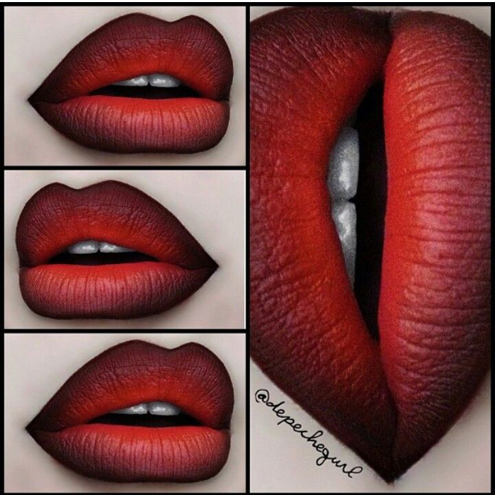Red ombre lip affect