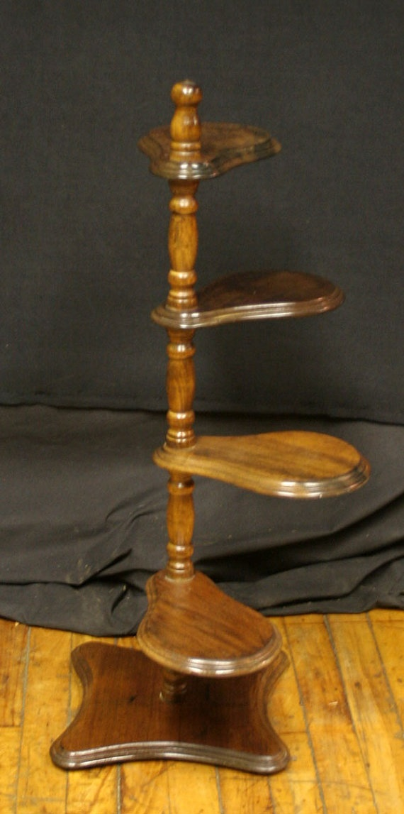 Vintage Wooden Spiral Ladder Plant Holder Stand To Be