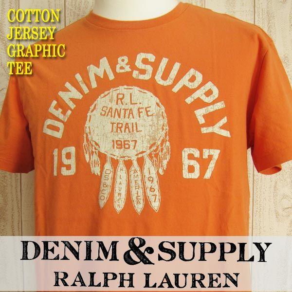 デニム&サプライ/ラルフローレン 新品 メンズ 半袖 コットン ジャージー グラフィック クルーネック Tシャツ★オレンジ L_画像1