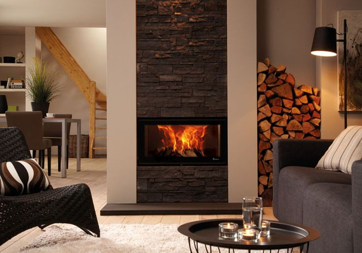 Contemporary insert wood stove.