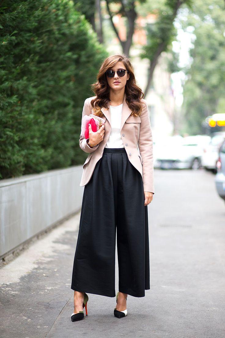 Blush blazer + white blouse + black wide length pants + black and white heels