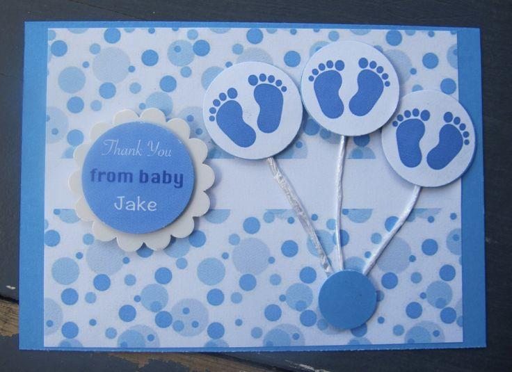 Handmade New Baby Boy Thank You Card
