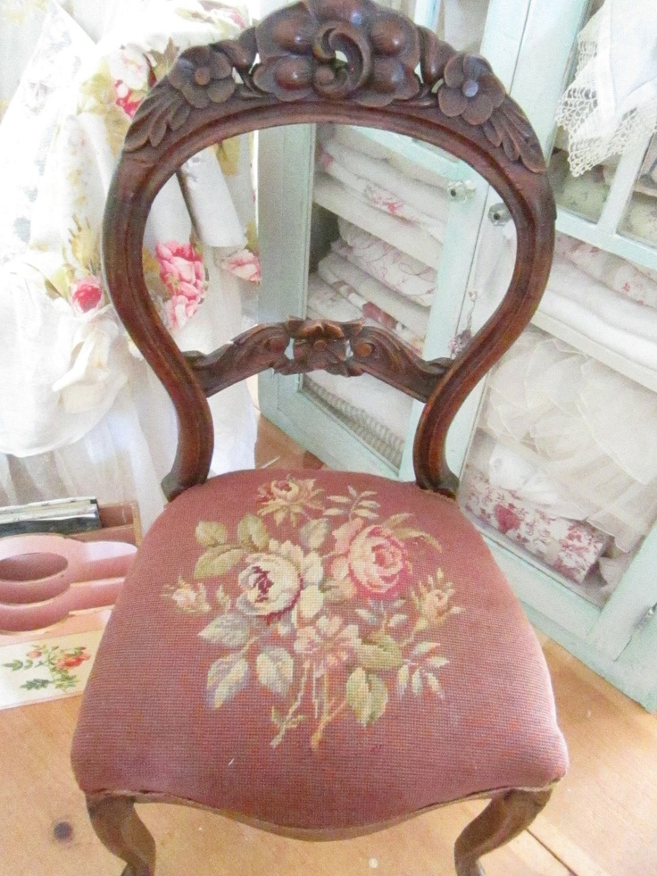 Vintage French needlepoint ornate carved chair