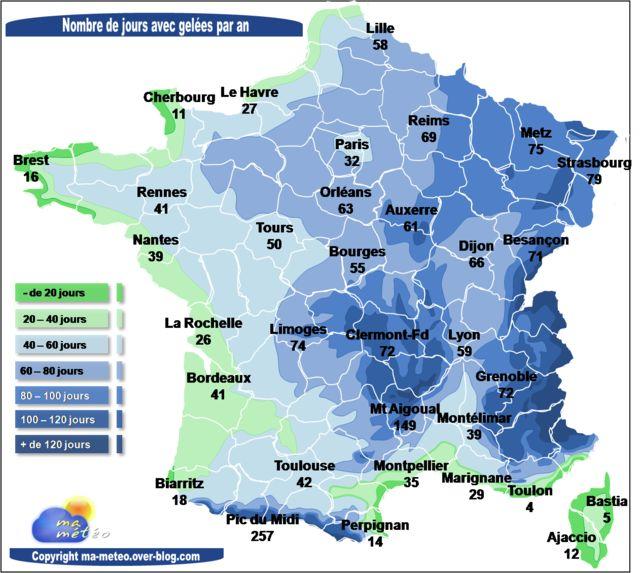 Carte climatologie - Nombre de jours avec gelée en France par an