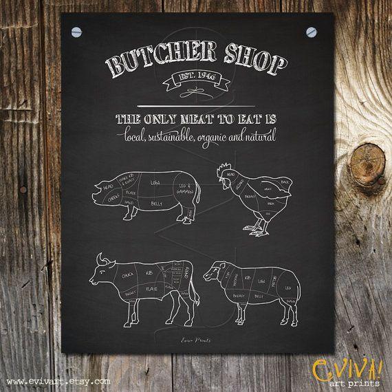 Butcher Shop - Butcher cuts selection sign print - Poster Print - Animal Pig Beef Sheep Butcher Cuts - Art Print