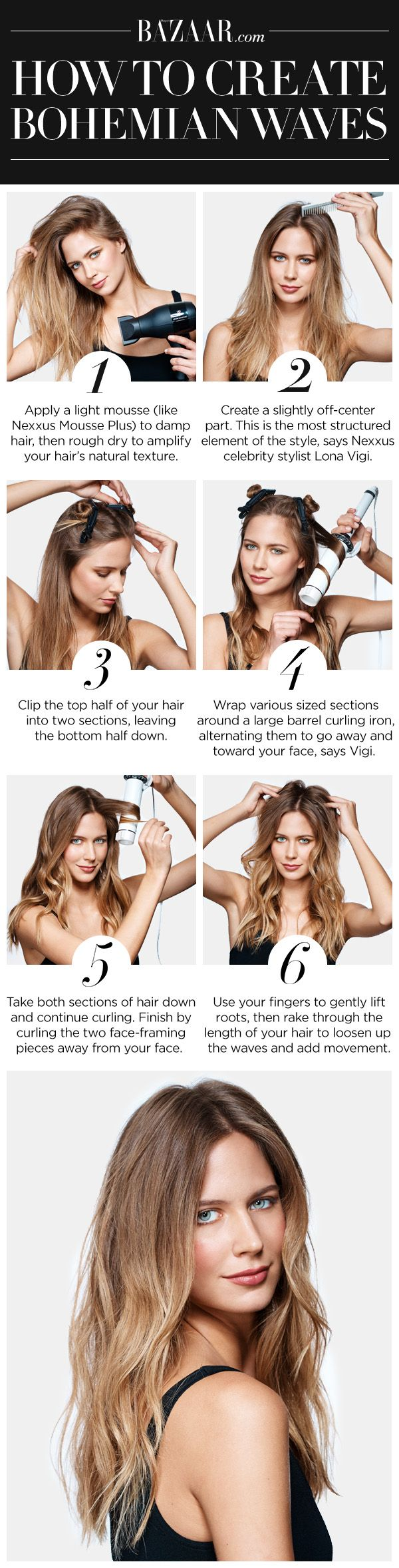 Click through for your complete tutorial on getting the perfect beachy waves: