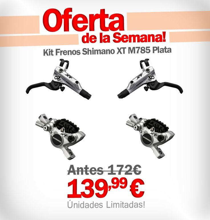 Buenos días bikers! Producto de la semana: Kit Frenos Shimano XT M785 Plata Delantero y Trasero  #bikestocks #bikes #oferta #ciclismo