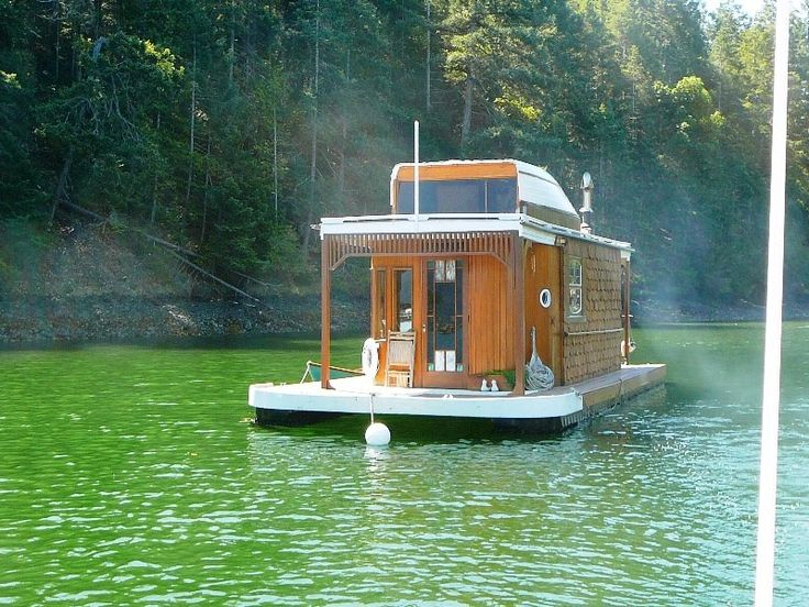 Lovely little wooden houseboat houseboats pinterest for Boat house plans pictures