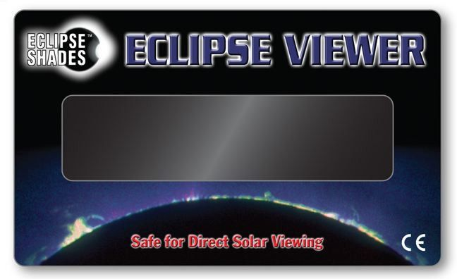 "Solar Eclipse Viewer CE Certified 3"" x 5"" Hand-Held Card Pk of 5 in Black"