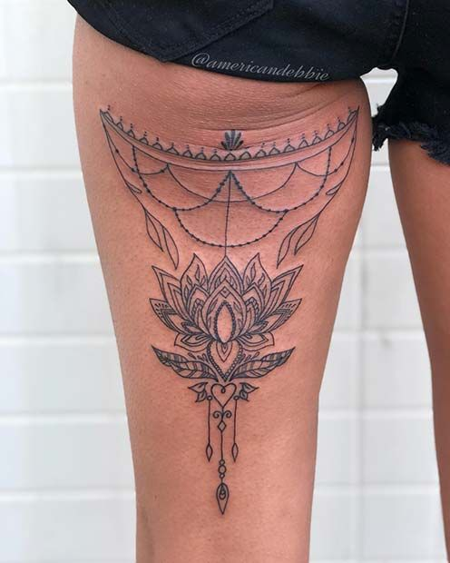 a8ab33158 23 Back of Thigh Tattoo Ideas for Women | tattoo | Back of thigh ...