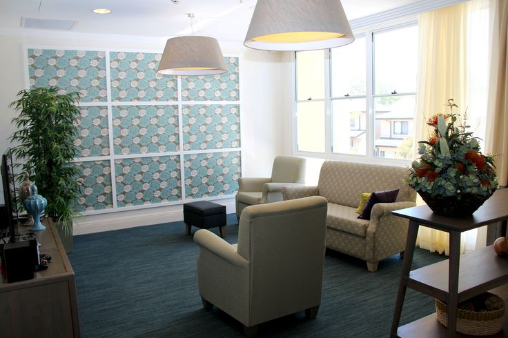 The Paula armchair and Sofa look very retro with the colourful wallpaper in the background. In aged care, fabric and wall finish selections are very important for mental stimulation of clients with little eyesight and or dementia.