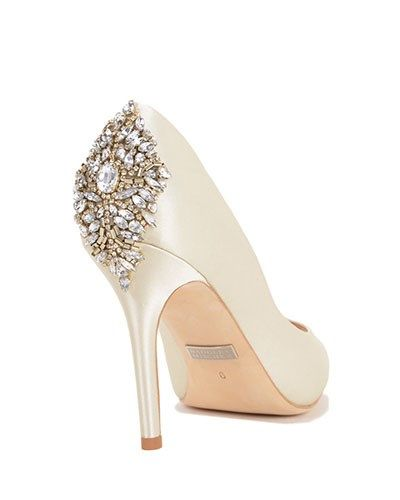 Jewel-encrusted bridal pumps by Badgley Mischka