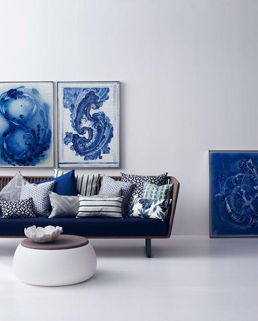 blue & white mediterranean inspired living room