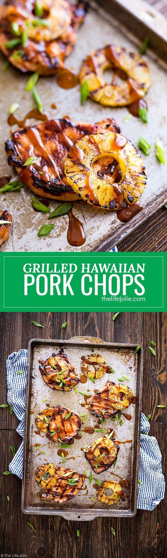 These Grilled Hawaiian Pork Chops are an easy recipe for a quick weeknight dinner. It's really easy to marinate in things like soy sauce and brown sugar and goes great with grilled pineapple and rice. This mouthwatering sweet and savory dish is the perfec