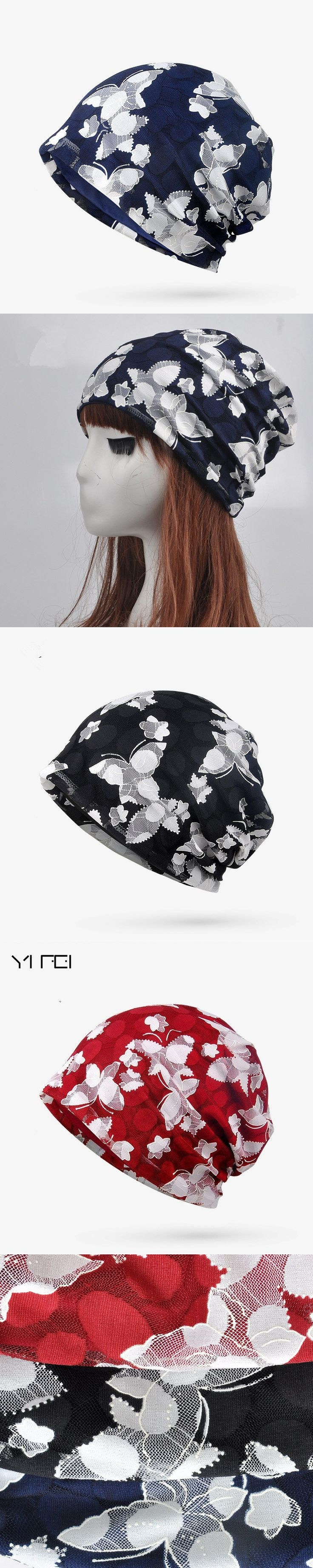 YIFEI Brand New Women's Summer Autumn Hat 2017 Fashion Butterfly Beanie Lady Turban Cap Printing Flower Caps Gorros Scarf