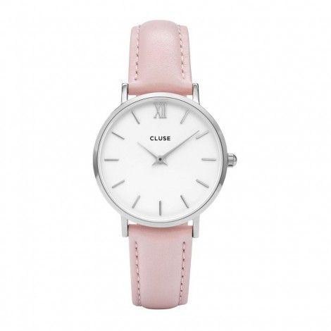 CLUSE Minuit Silver White/Pink horloge CL30005 - Dames