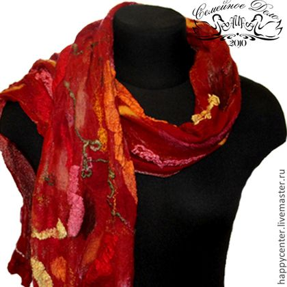 Шарф Палантин валяный Абутилон - nunofelting,ярко-красный,абстрактный