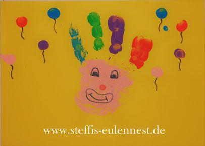 Fasching, Karneval, Basteln mit Kindern , KITA, Krippe, Handabdruck, Clown , Luftballon, Luftballons, Fingerfarben, Fasching 2017, Karneval 2017