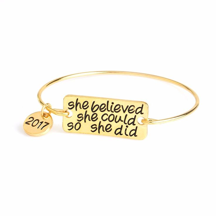 She Believed She Could So She Did 2017 & My Story Isn't Over Yet Bangle Semicolon Bracelet For Women Girl Inspirational Jewelry