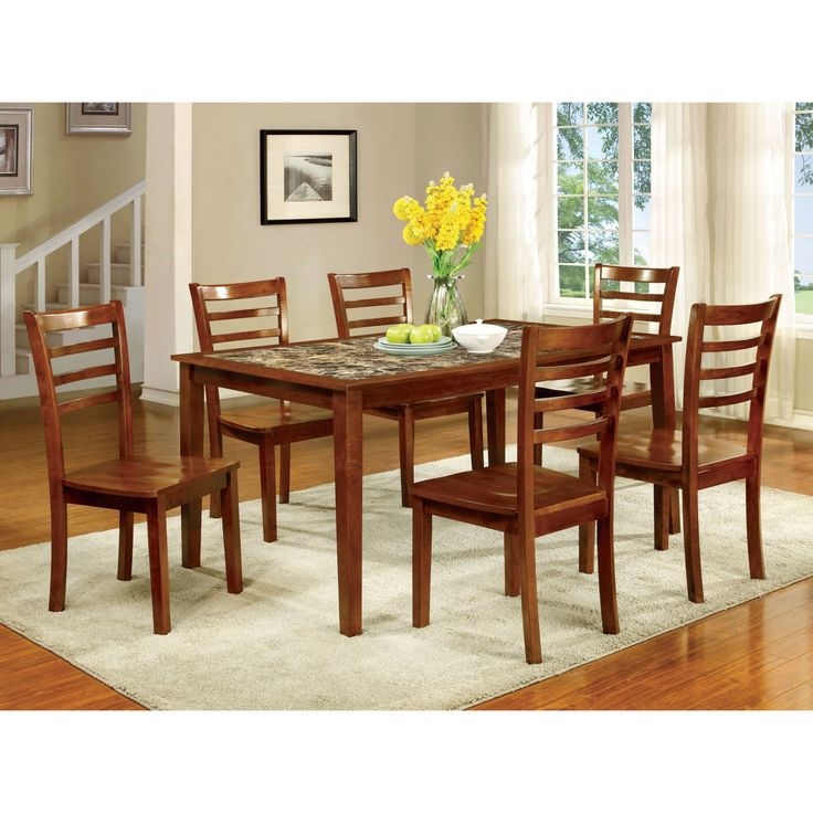 Furniture of America Tillman 7 Piece Faux Marble Dining Table Set - IDF-3521T-7PK