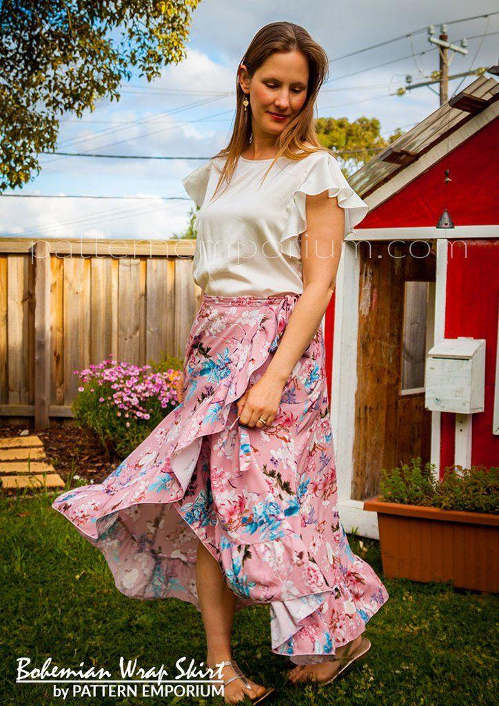Wrap Skirt sewing pattern by Pattern Emporium - plain, ruffle or flounce. Optional pockets.