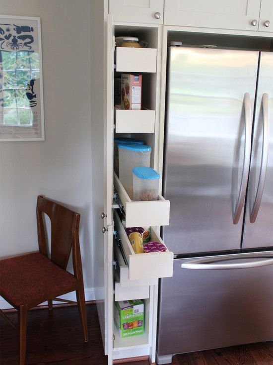 Hidden pull out storage next to refrigerator from for Hidden kitchen storage ideas