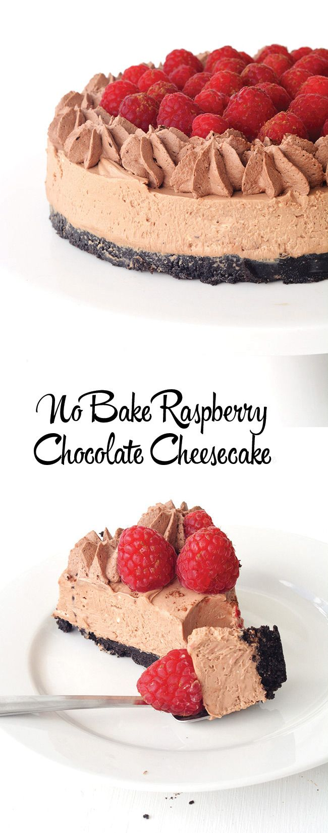 No bake Raspberry Chocolate Cheesecake with an Oreo crust | Sweetest Menu
