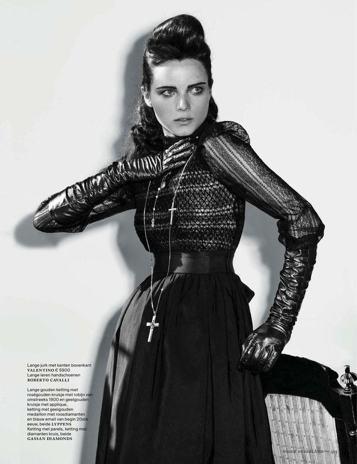 Black dress silver crucifix necklace black long gloves ◆ Neovictorian Modern Baroque Fashion ◆ anna de rijk by marc de groot for vogue netherlands november 2012