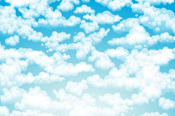 Blue sky clouds. Vector background by Rommeo79 on @creativemarket