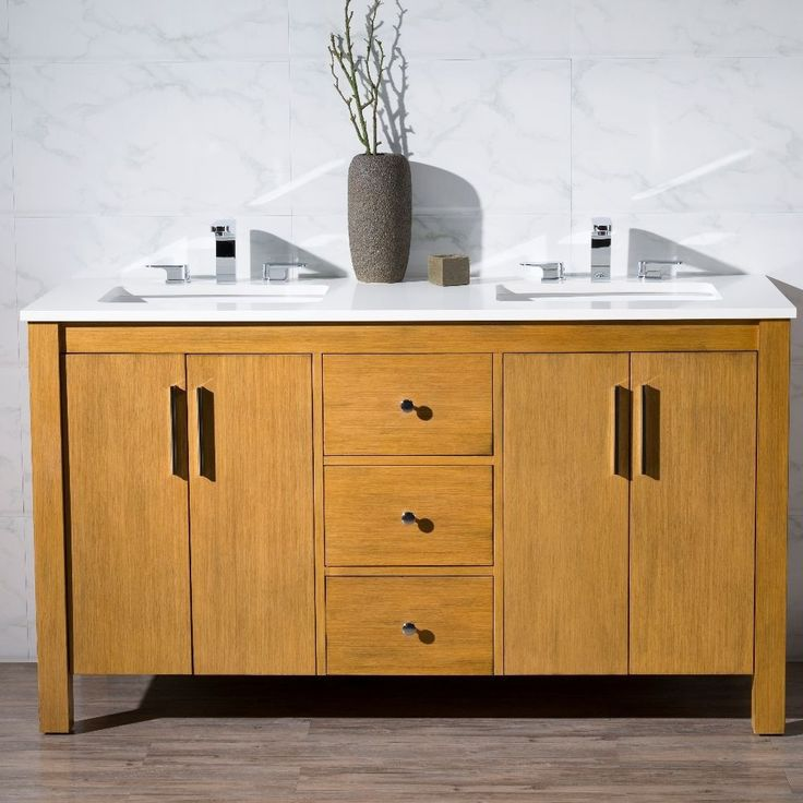 "Stufurhome 59"" Windsor Double Sink Bathroom Vanity Set - TY-7585-59-QZ"