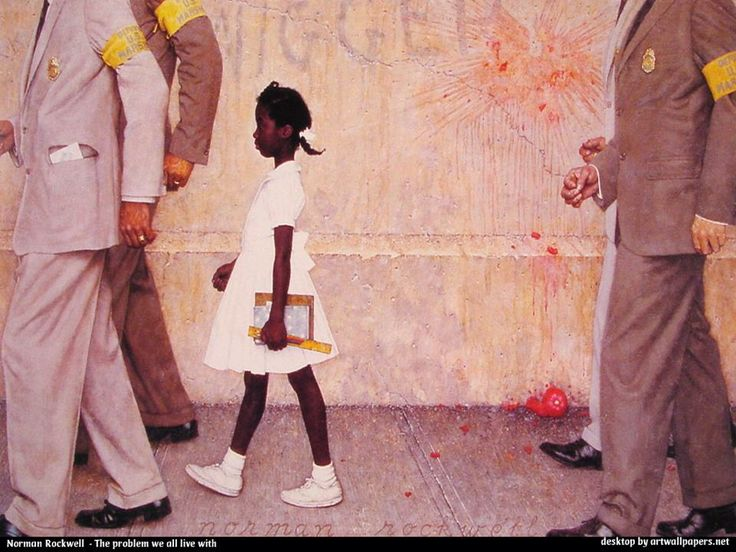 """Norman Rockwell's """"The Problem We All Live With,"""" shows U.S. marshals escorting Ruby Bridges, a 6-year-old African-American girl, into a New Orleans elementary school in 1960 as court-ordered integration met with an angry and defiant response from the white community.  To the left side, the letters """"KKK"""" are plainly visible. But the racist graffiti and a splattered tomato convey the hostile atmosphere."""