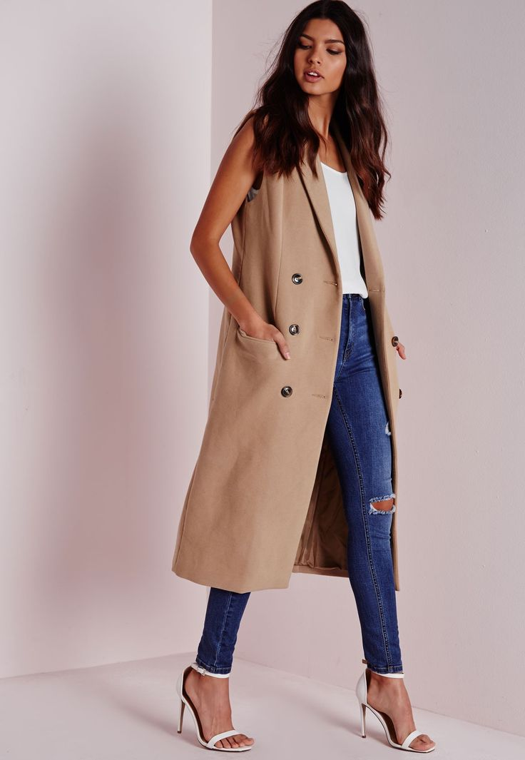 Missguided - Double Breasted Sleeveless Wool Maxi Coat Camel