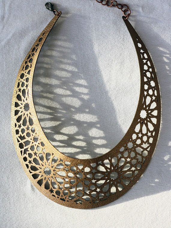Geometric Laser cut Bronze & Gold Faux Leather Necklace (Morocco inspired)
