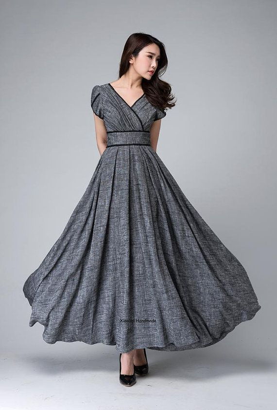 Gray maxi dress, empire waist dress, Garden party dress, romantic womens dresses, linen clothing, floor length dress, custom made dress 1492